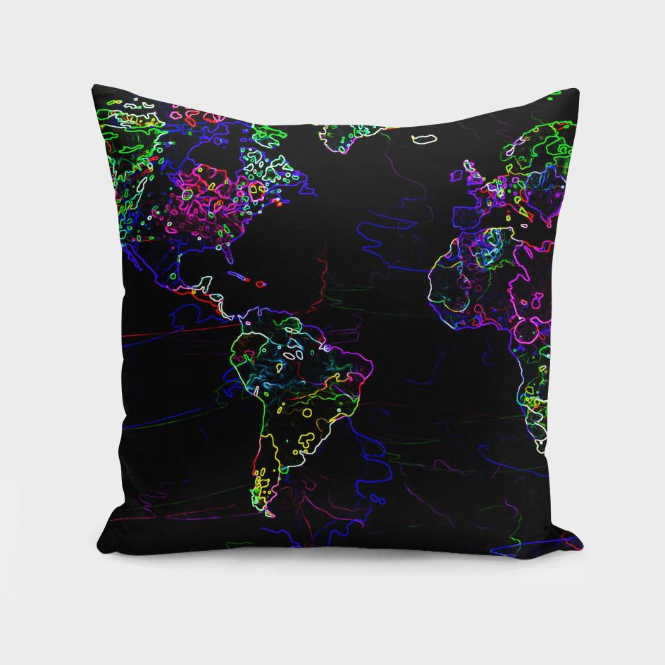 Neon World Map