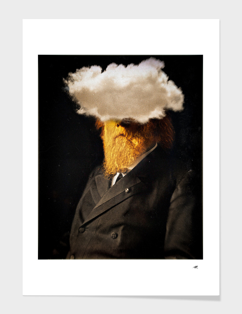 Golden face with cloud