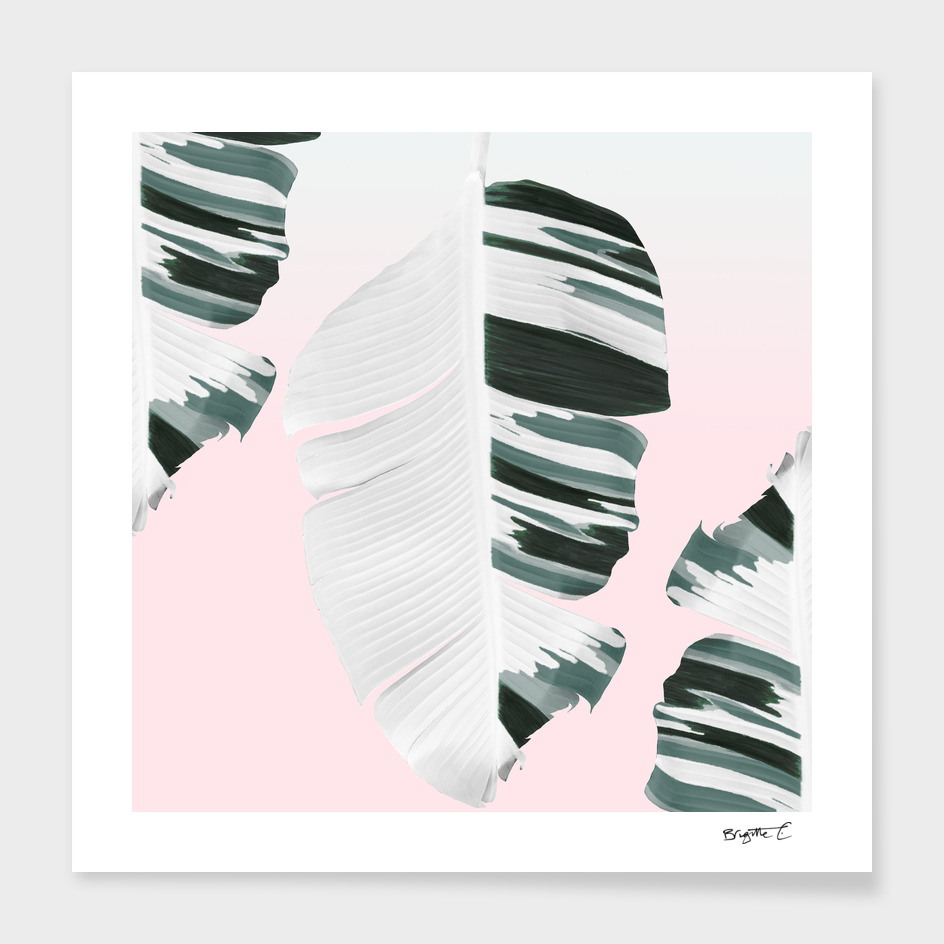 White Green Pastel Tropical Banana Leaves Design