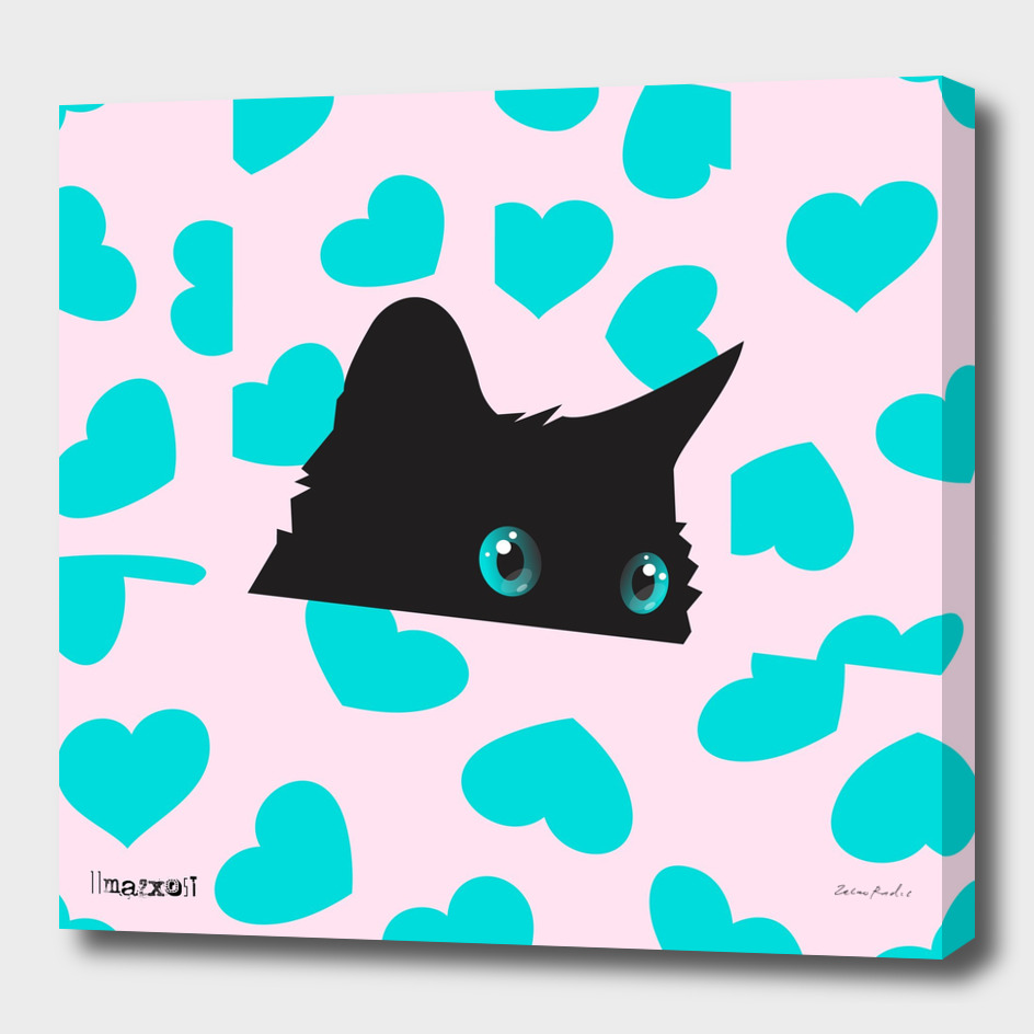 Cat on Blanket with Hearts