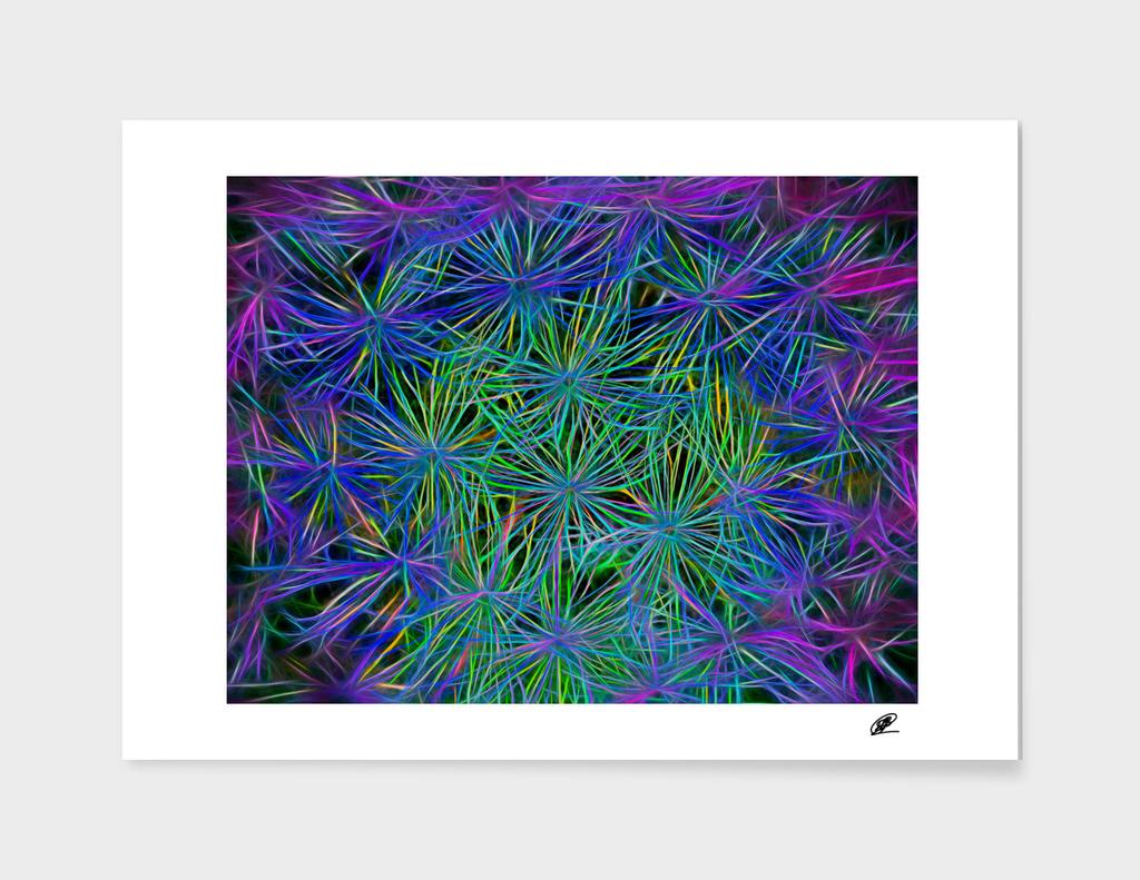 Dandelion macro shot neon processing