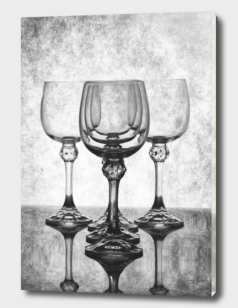 Black and white still life with glasses