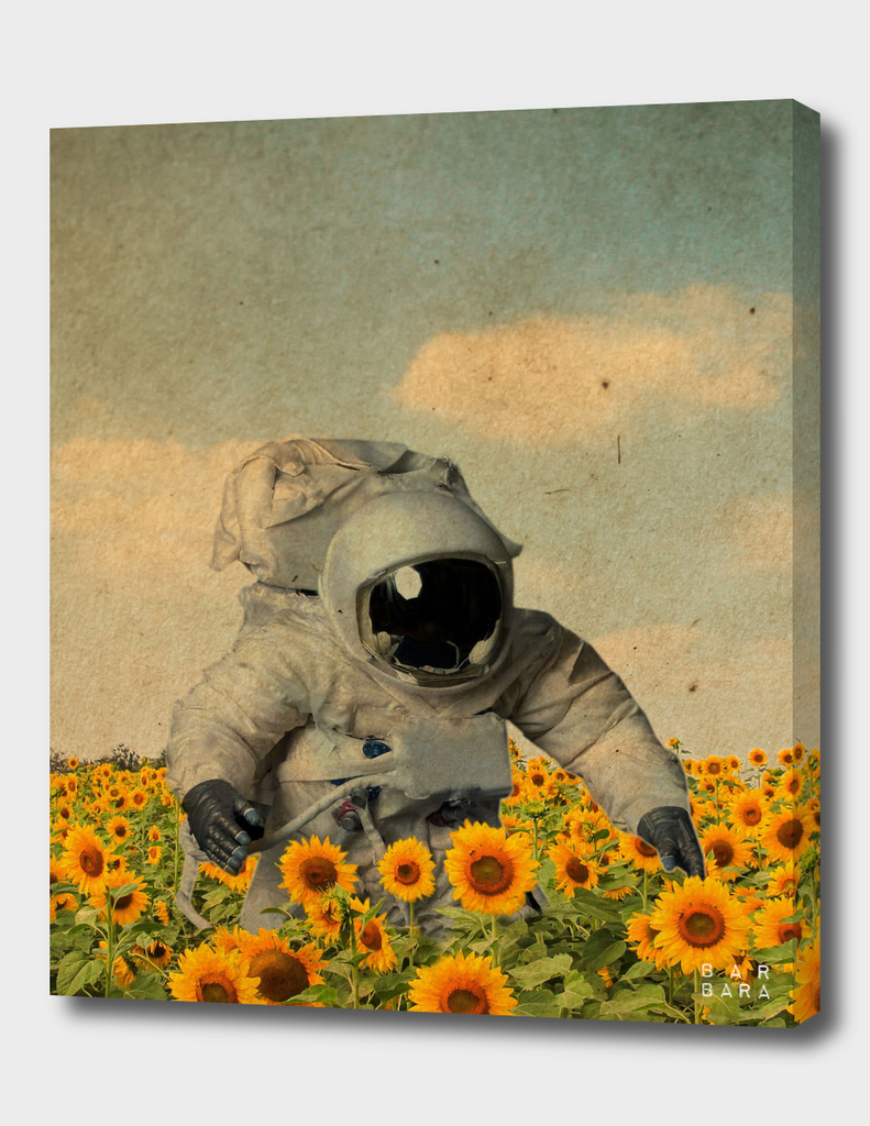 Astronauta tra girasoli