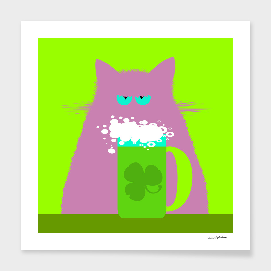 Saint Patrick's Day Lilac Cat