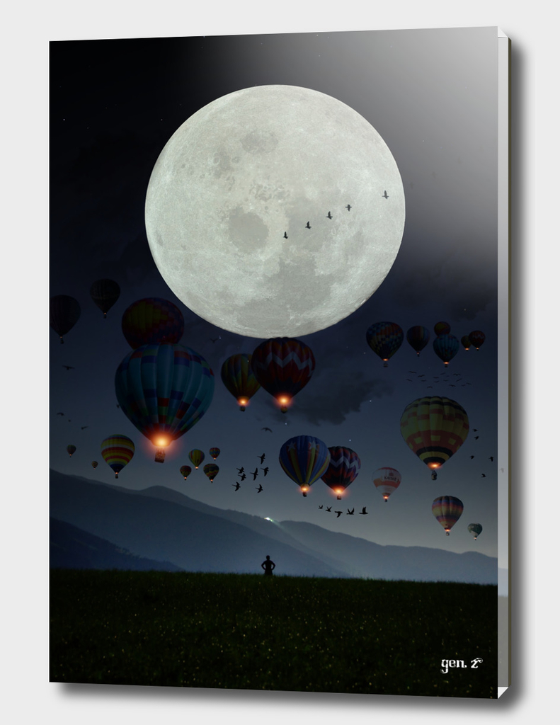Human facing the moon and balloons by GEN Z