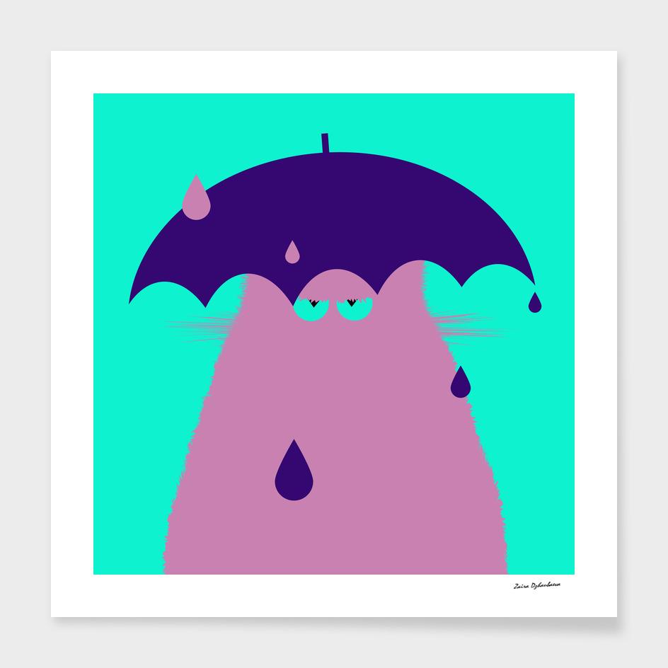 Lilac Cat with Umbrella
