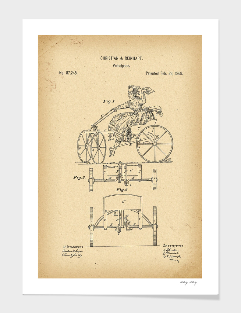 1869 Patent Velocipede Bicycle history  invention