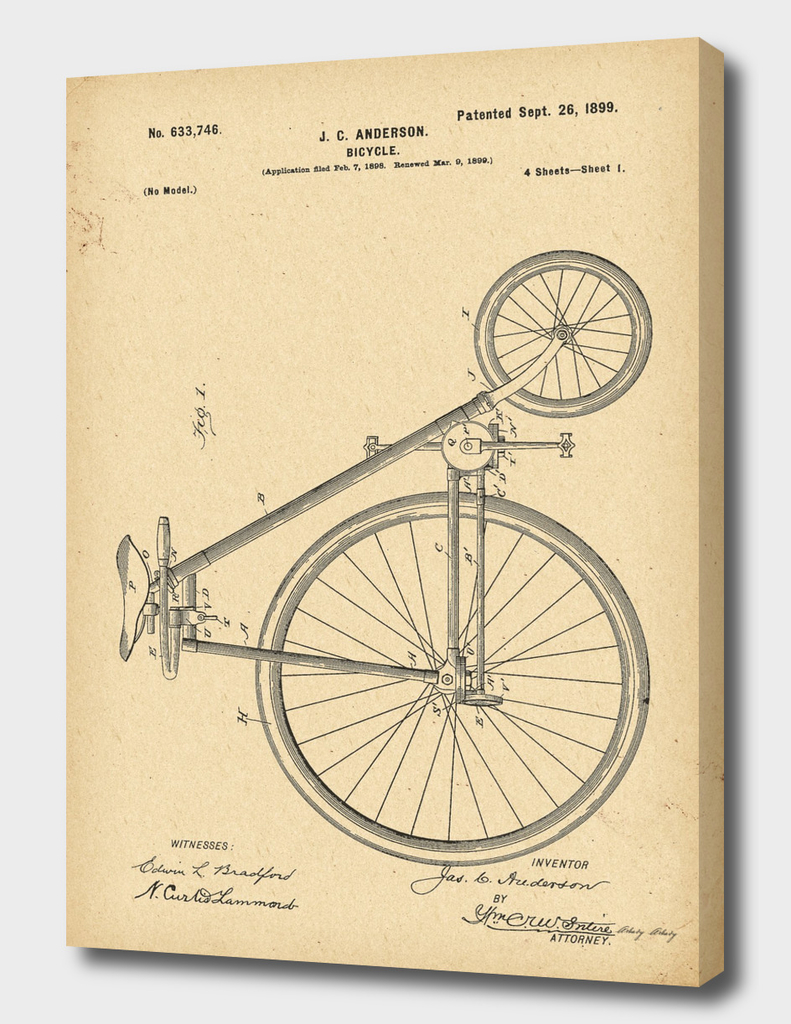 1899  Patent Velocipede Bicycle history  invention