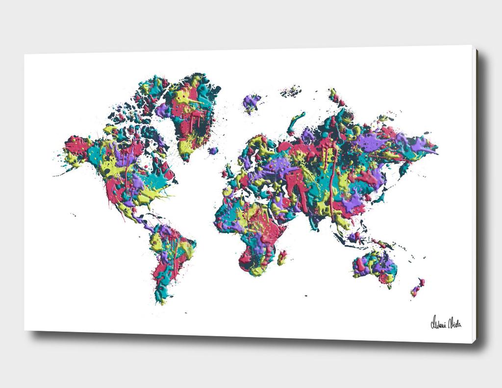 POP ART World Map white | Splashes
