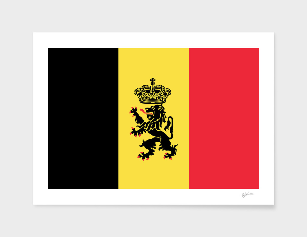 Flag of Belgium with Lion Ensign