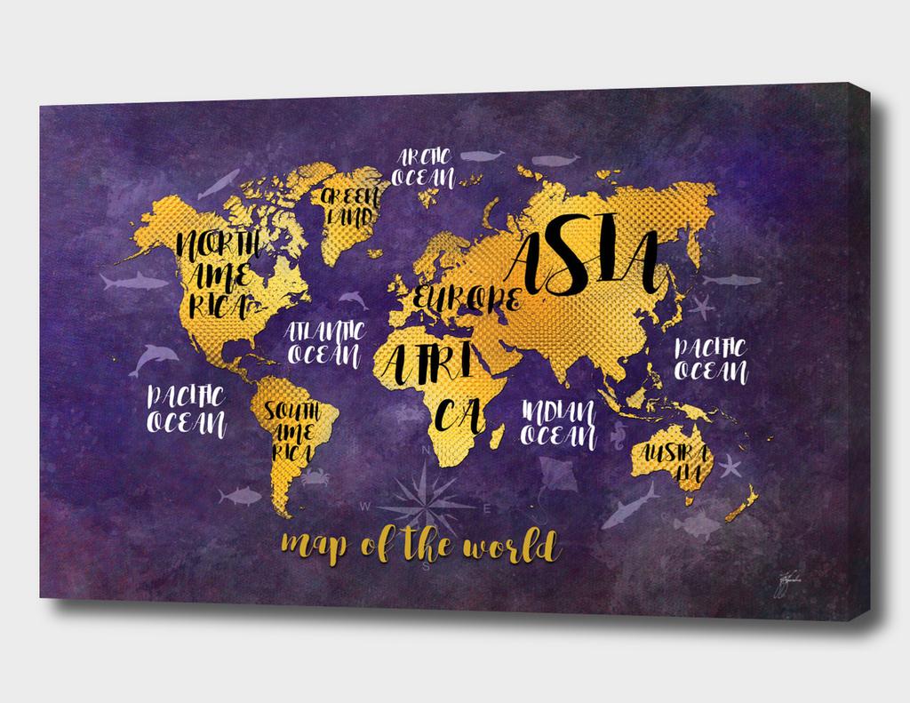 world map gold purple