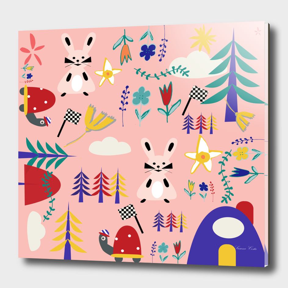 Tortoise and the Hare is one of Aesop Fables pink