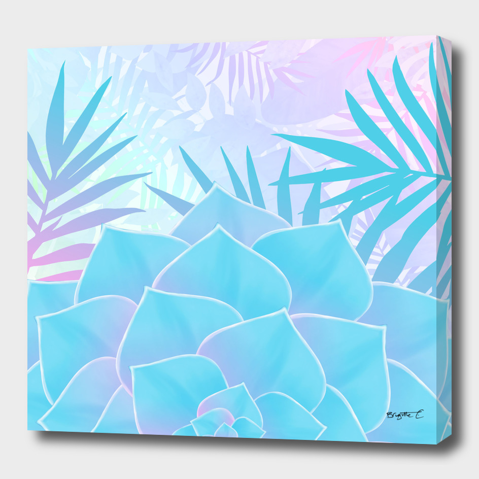 Pastel Rainbow Tropical Flower Paradise Design