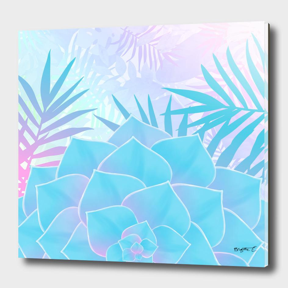 Pastel Rainbow Tropical Flower Paradise Design