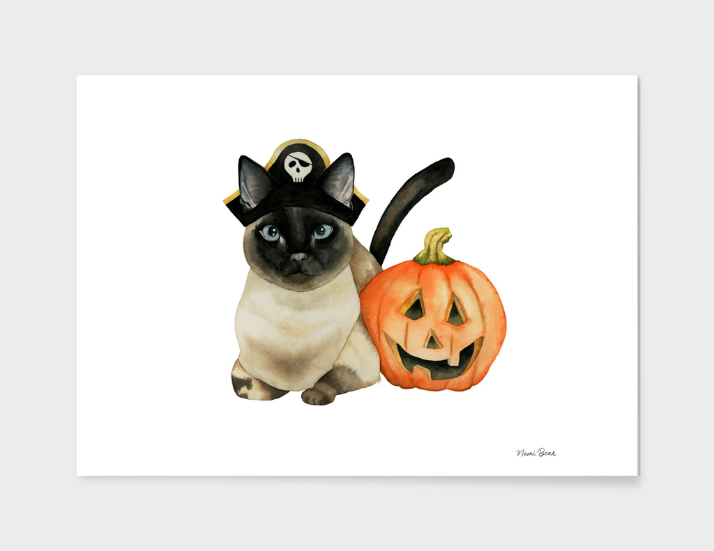 Halloween Siamese Cat with Jack O' Lantern