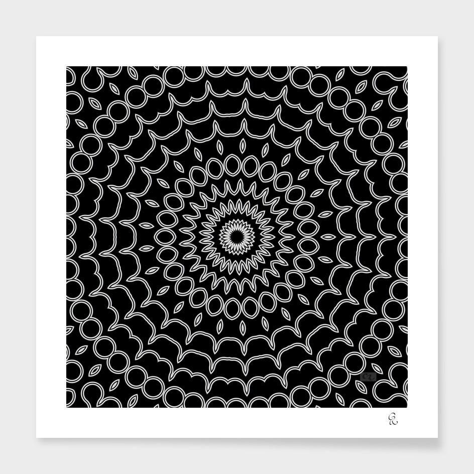 Mandala Fractal in Black and White