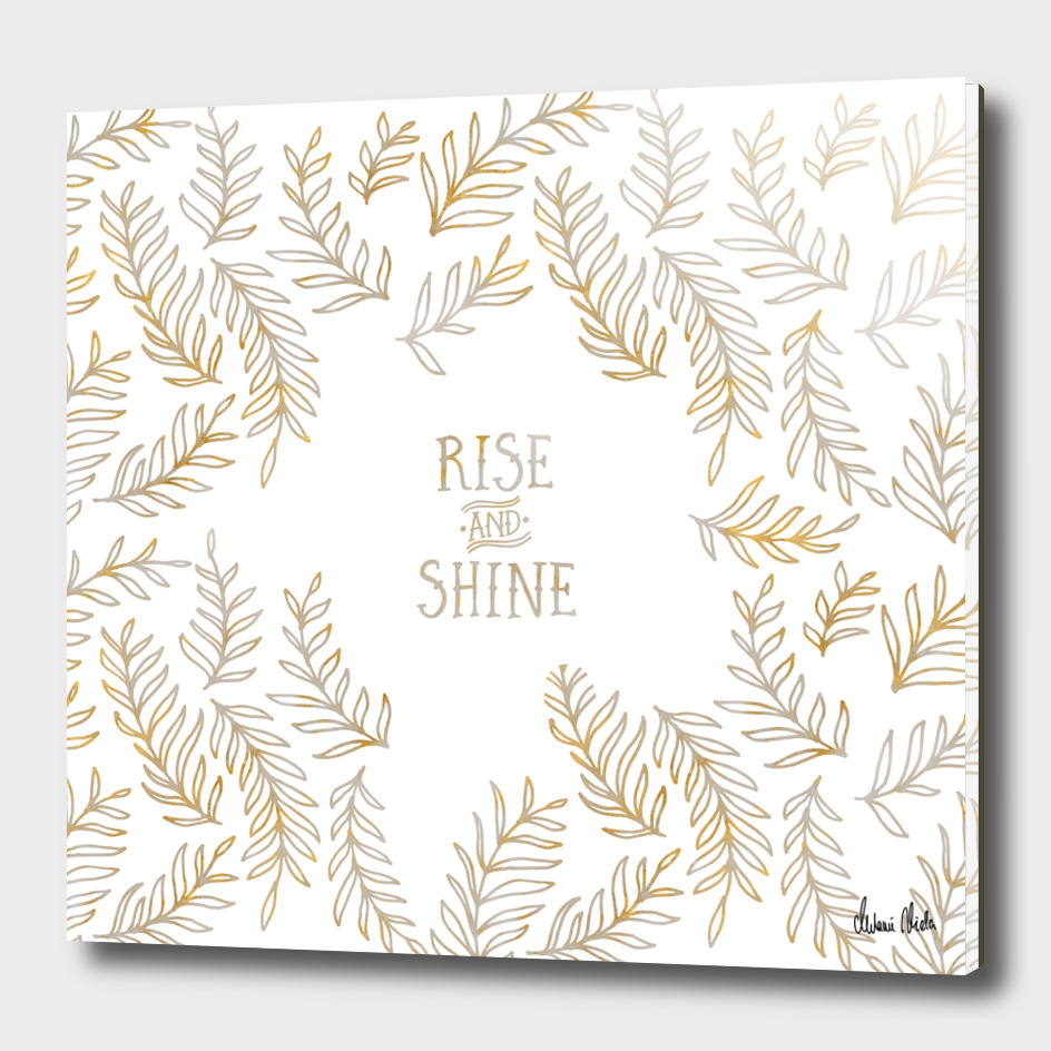Graphic Art RISE & SHINE | gold and marble