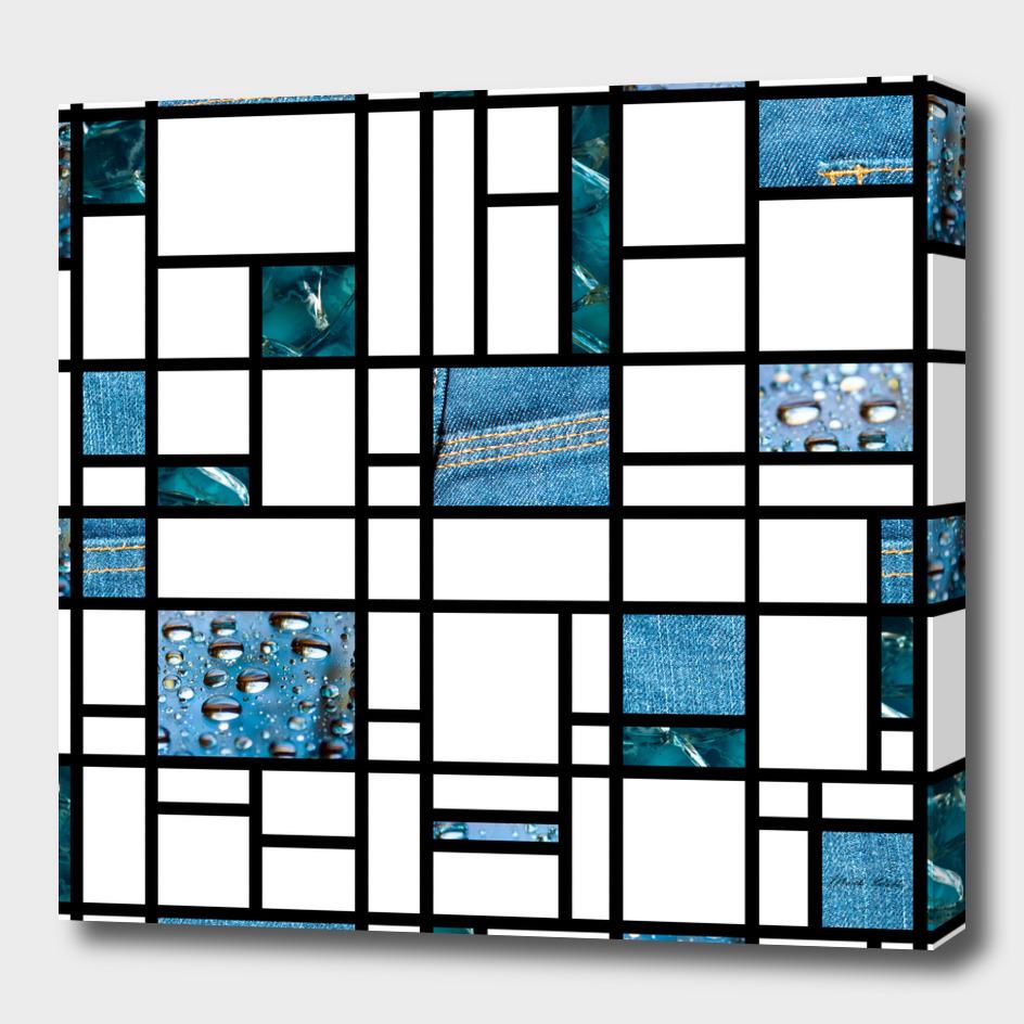 Modern Art Blue Denim Drops and Cracked