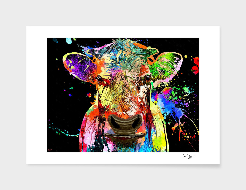 Cow Portrait Grunge