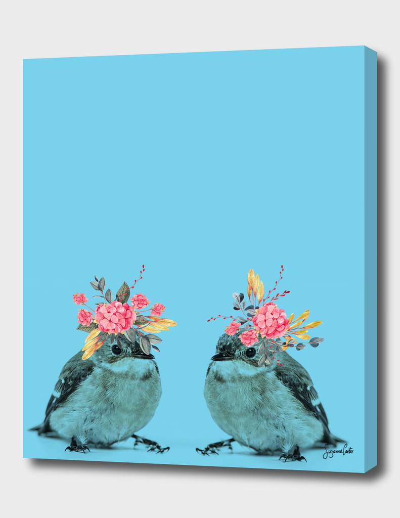 Sparrows & flowers