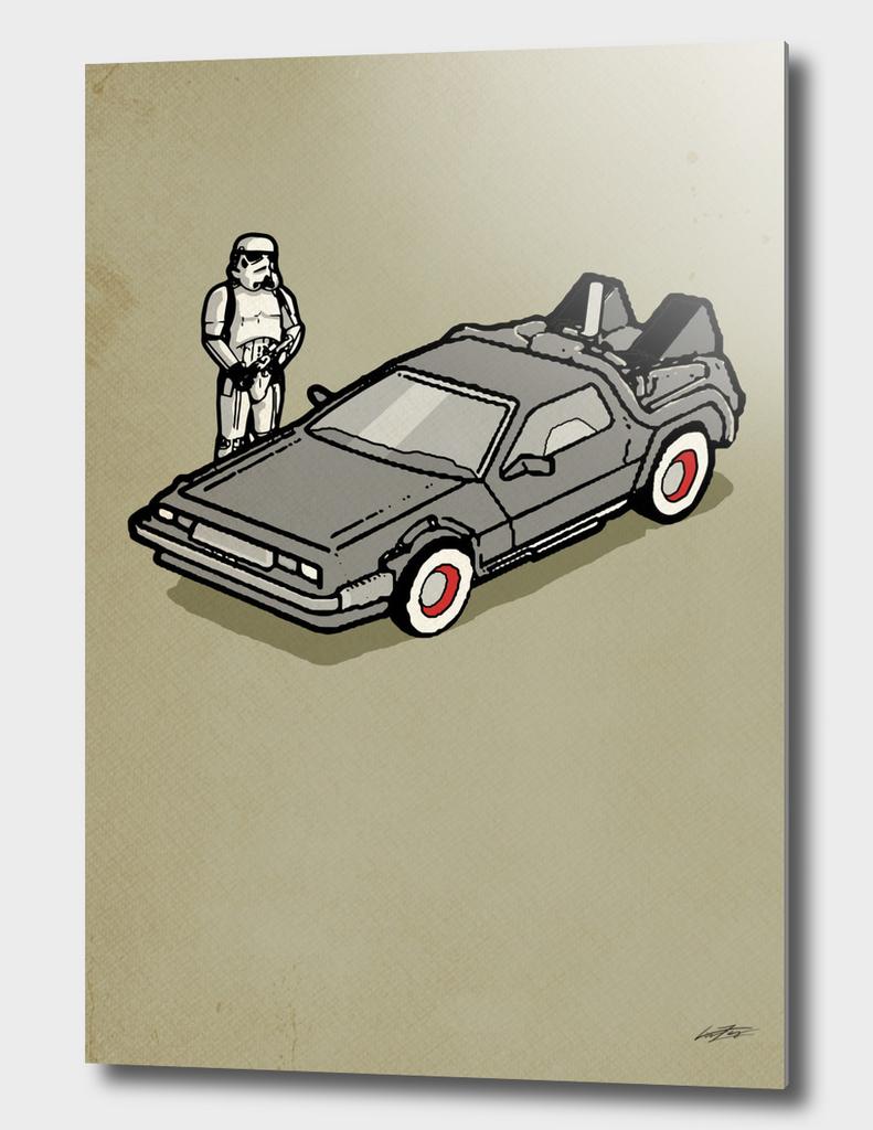 stormtrooper and a delorean