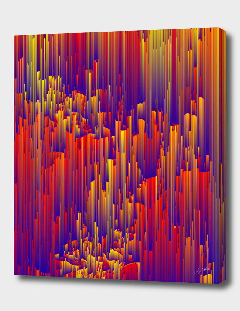 Fiery Rain - Abstract Pixel Art