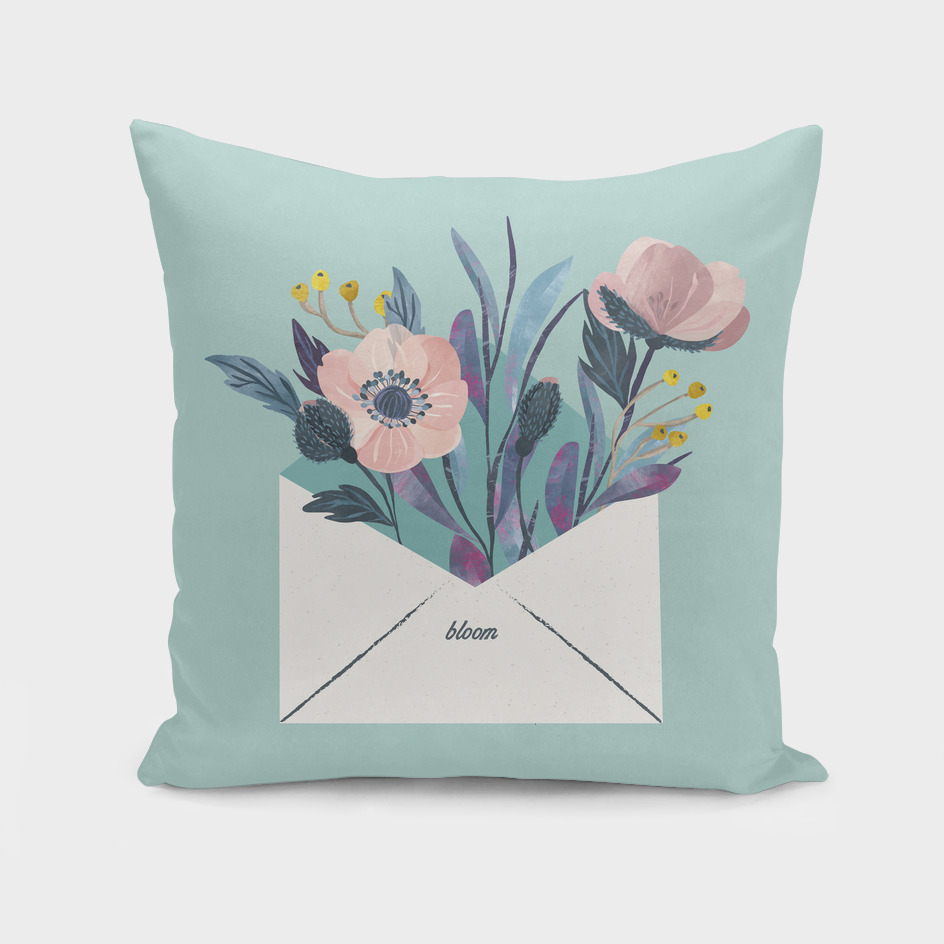 Flowers in an envelope: A watercolor floral throw pillow