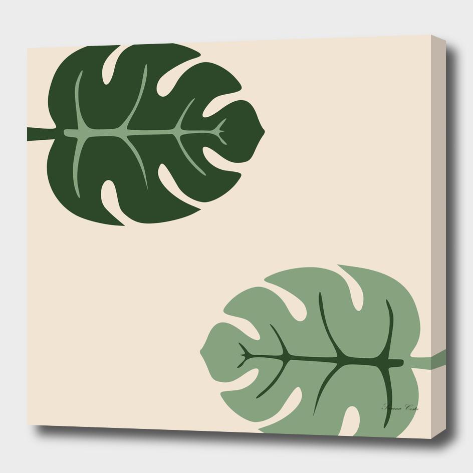 Tropical leaves Monstera deliciosa beige