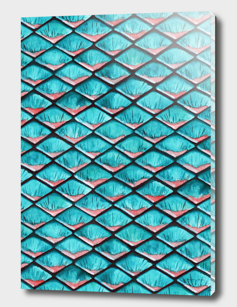 Teal blue and coral pink arapaima mermaid scales pattern