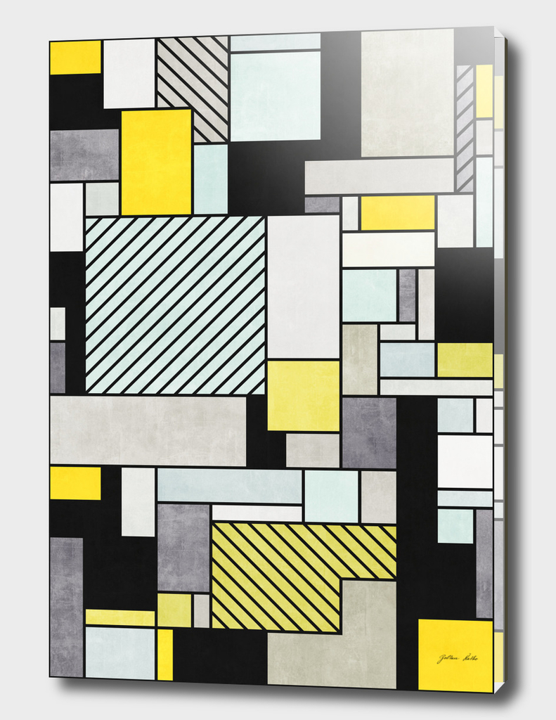 Random Concrete Pattern - Yellow, Blue, Grey