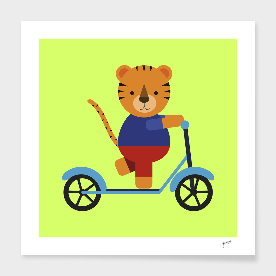 Tiger on Scooter