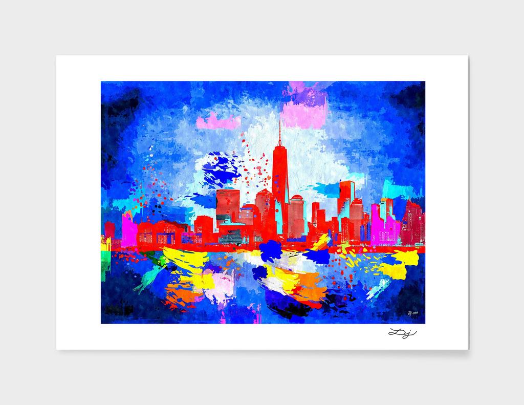 NYC Grunge Skyline Art