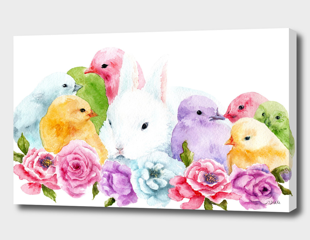 rabbit with chickens in flowers