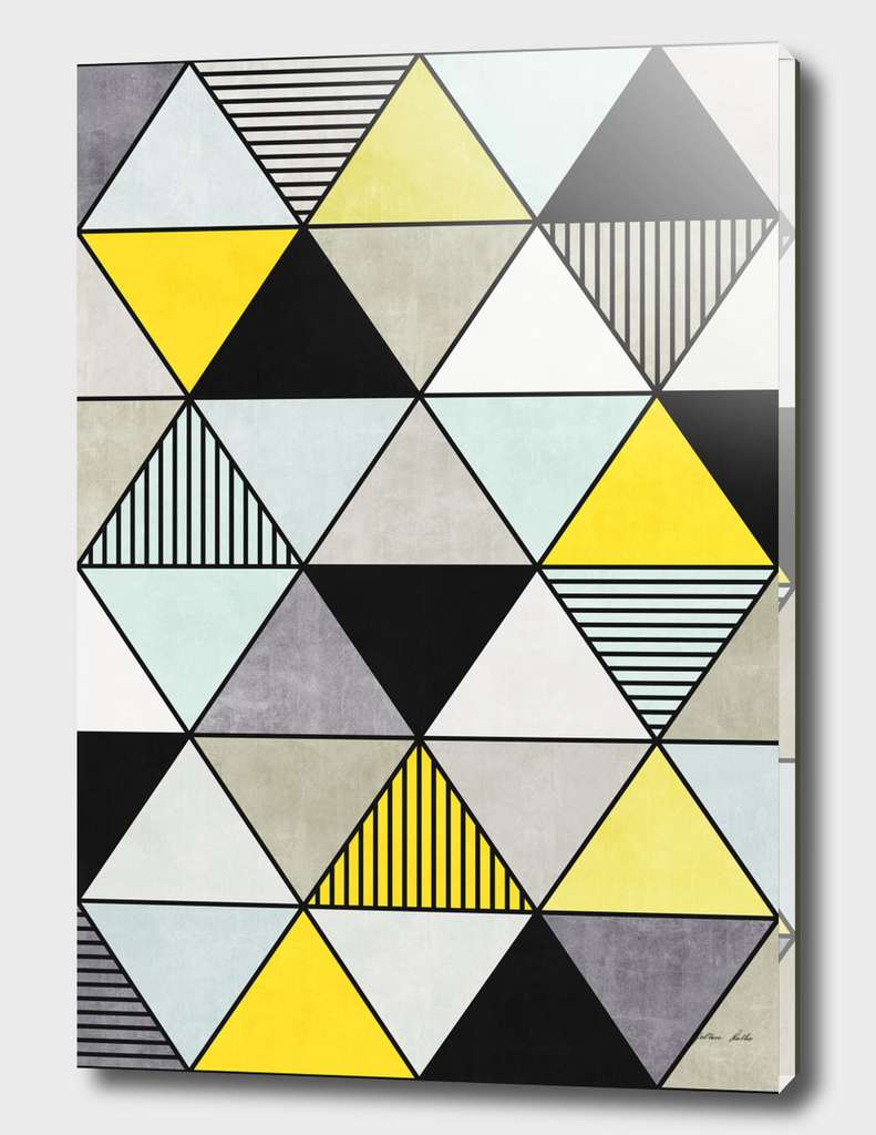 Colorful Concrete Triangles 2 - Yellow, Blue, Grey