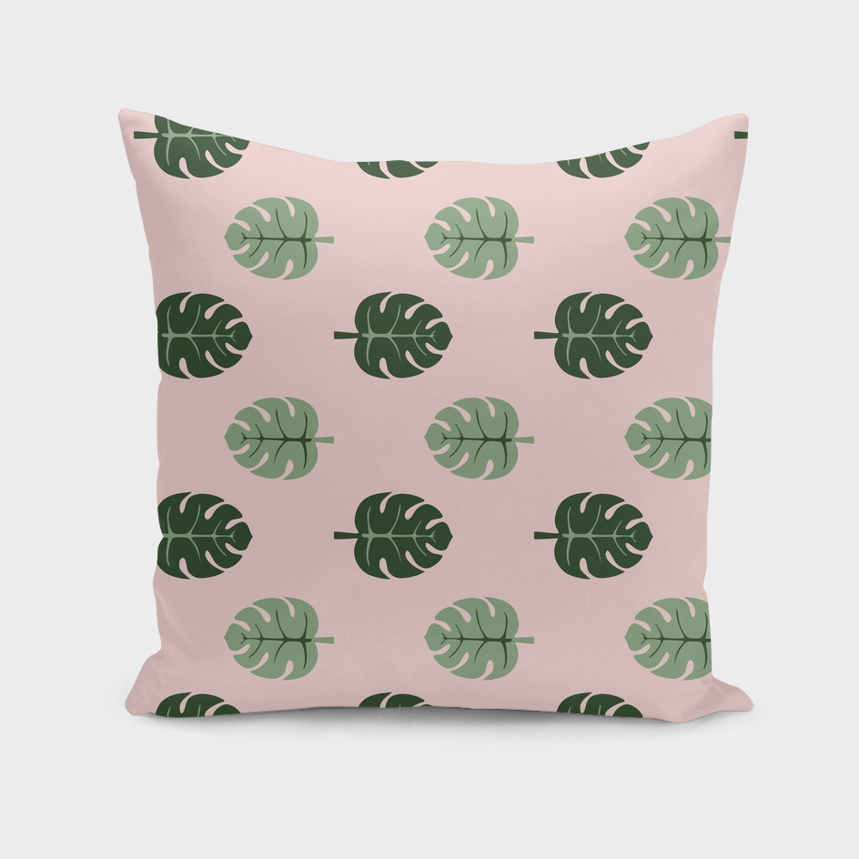 Tropical leaves Monstera deliciosa green and pink