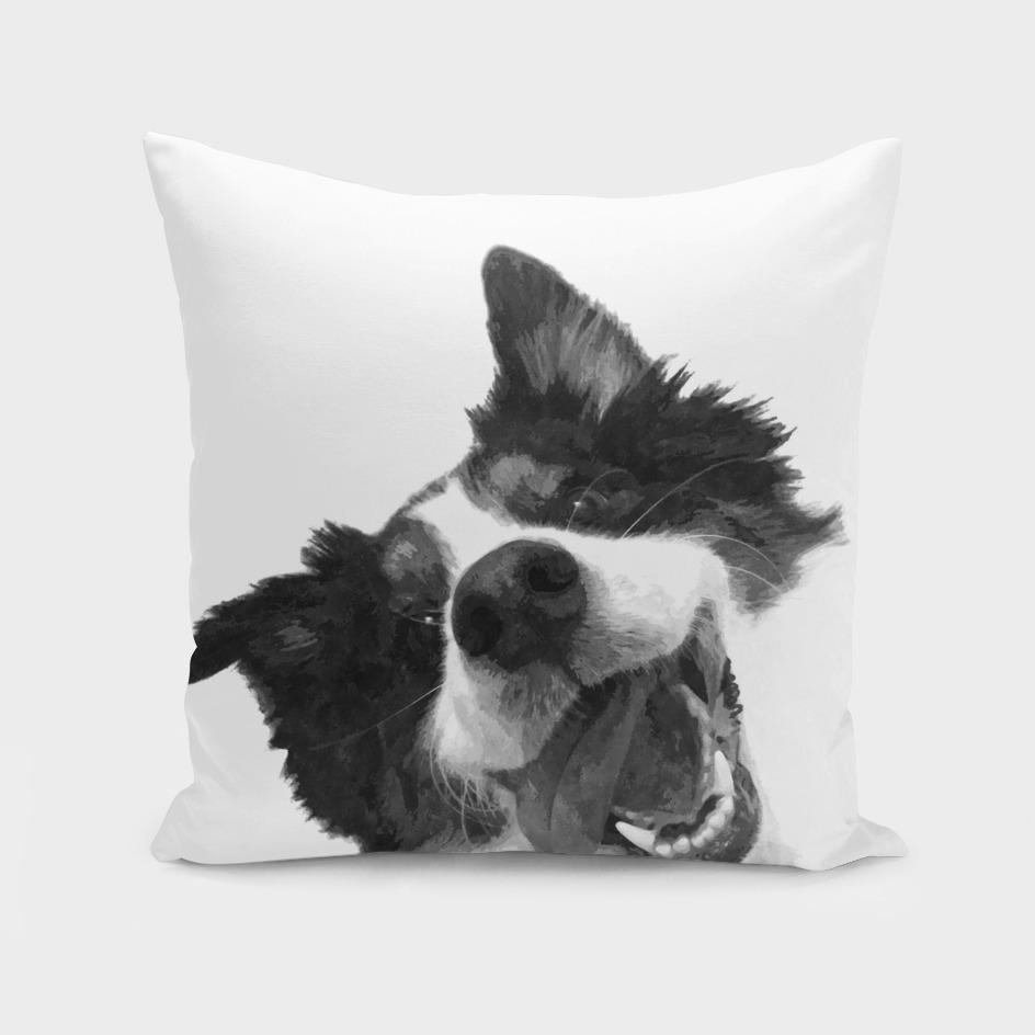 Black and White Happy Dog
