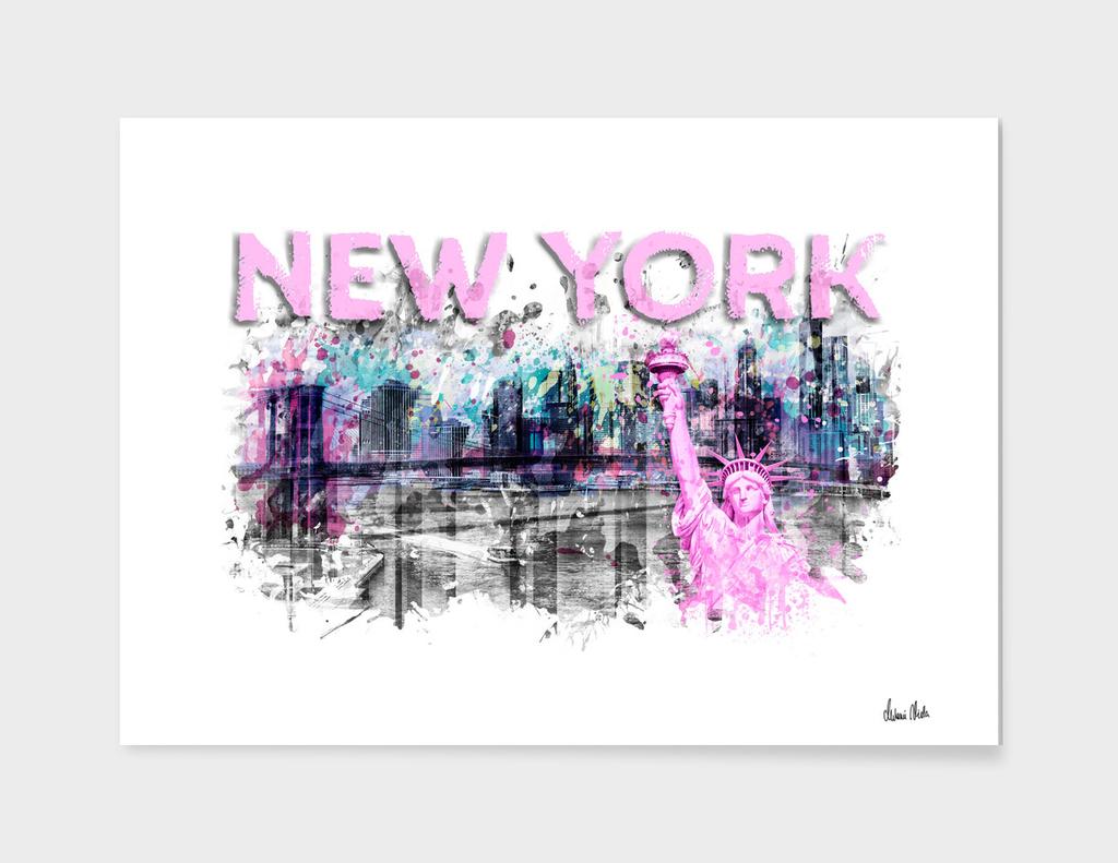 Modern Art NEW YORK CITY Skyline Splashes   pink