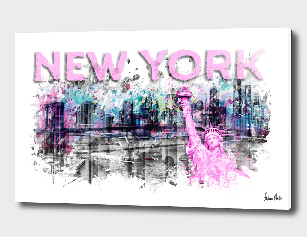 Modern Art NEW YORK CITY Skyline Splashes | pink