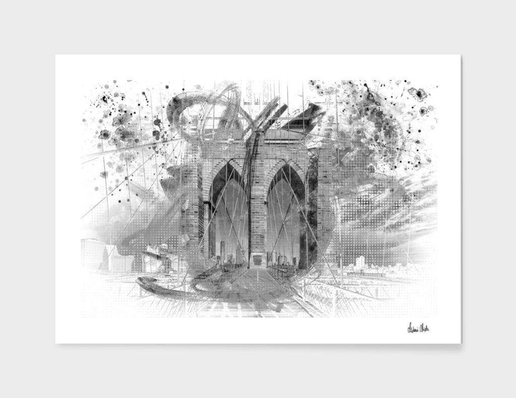 City Art Brooklyn Bridge in Detail   grey