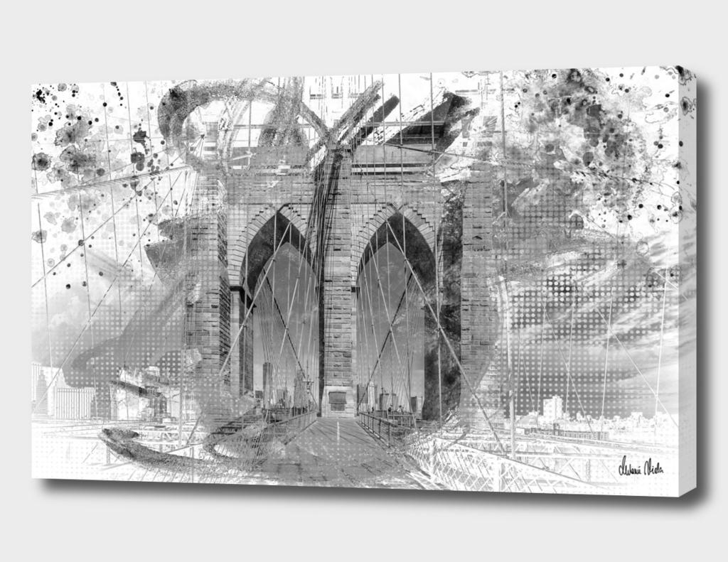 City Art Brooklyn Bridge in Detail | grey