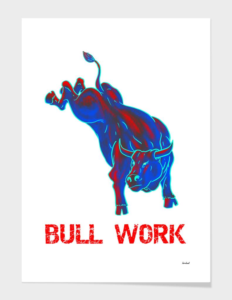 Blue and Red Original Artwork Bucking Bull Design