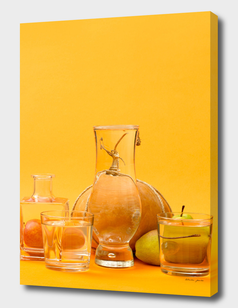 Still life with glass objects, fruits and vegetables
