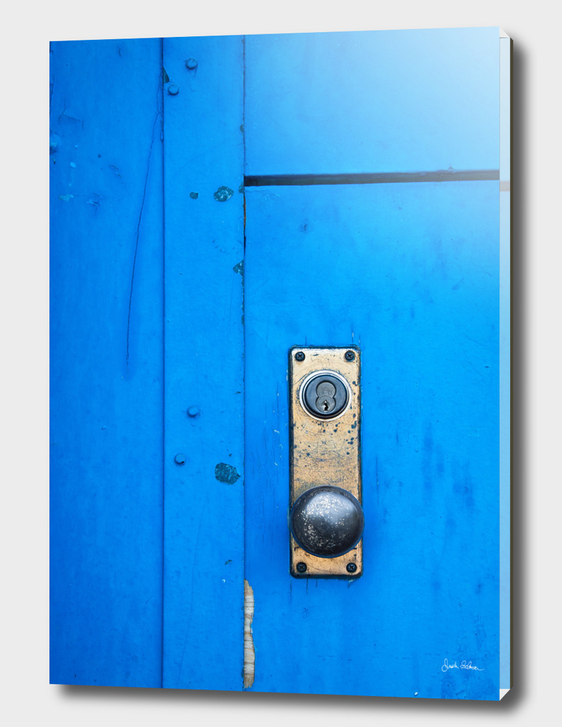 Doorknob on a Blue Door
