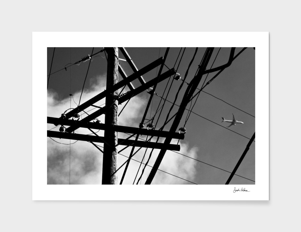 Abstract Power Lines and an Airplane