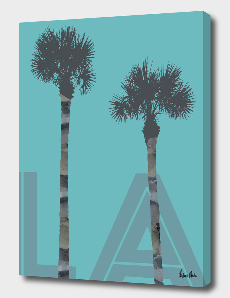 Graphic Art PALM TREES LA | turquoise