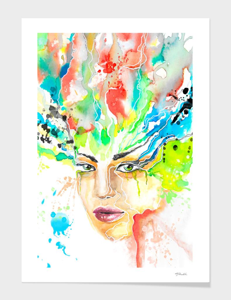 woman face - watercolor