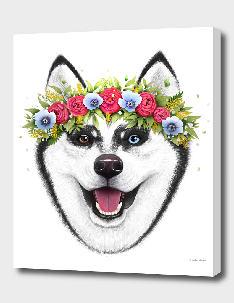 Husky with flowers
