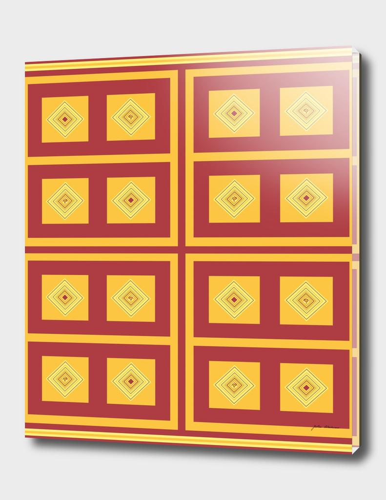 gold, cream, and maroon diamond pattern