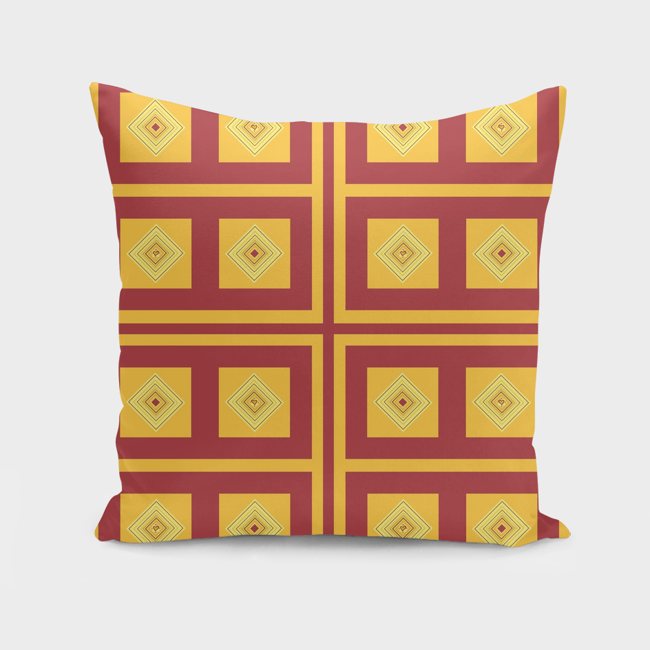 gold, cream, and maroon diamond pattern