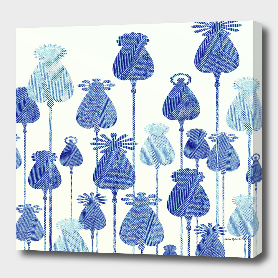 Denim Poppy Heads